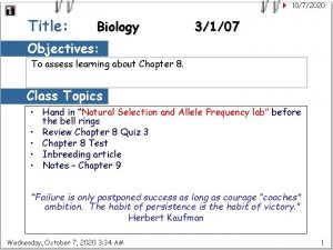 1072020 Title Biology 3107 Objectives To assess learning