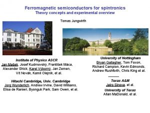 Ferromagnetic semiconductors for spintronics Theory concepts and experimental