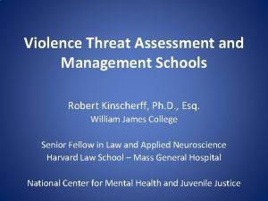 Violence Threat Assessment and Management Schools Robert Kinscherff