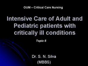 OUM Critical Care Nursing Intensive Care of Adult