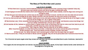 The Story of The Rich Man and Lazarus