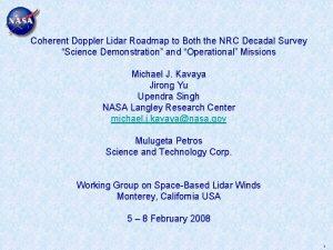 Coherent Doppler Lidar Roadmap to Both the NRC