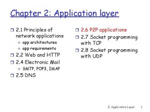 Chapter 2 Application layer r 2 1 Principles