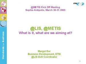 METIS Kick Off Meeting Sophia Antipolis March 30