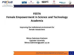 www FESTAEUROPA eu FESTA Female Empowerment in Science