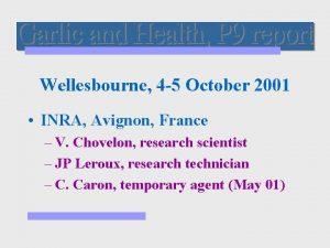 Wellesbourne 4 5 October 2001 INRA Avignon France