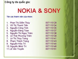 Cng ty a quc gia NOKIA SONY Tn