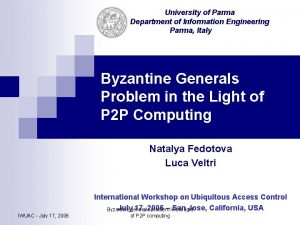 University of Parma Department of Information Engineering Parma