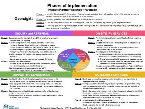 Phases of Implementation Intimate Partner Violence Prevention Oversight
