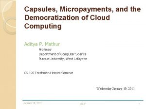 Capsules Micropayments and the Democratization of Cloud Computing