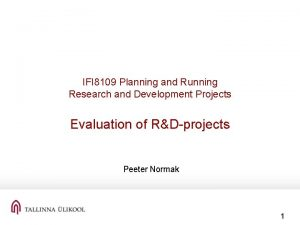 IFI 8109 Planning and Running Research and Development