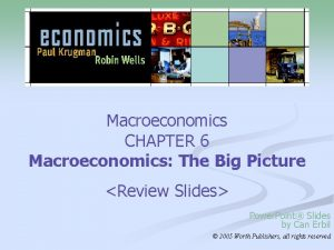 Macroeconomics CHAPTER 6 Macroeconomics The Big Picture Review