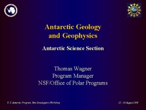 Antarctic Geology and Geophysics Antarctic Science Section Thomas