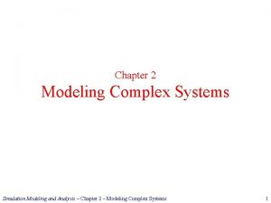 Chapter 2 Modeling Complex Systems Simulation Modeling and