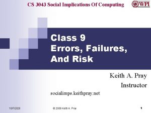 CS 3043 Social Implications Of Computing Class 9
