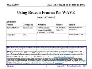 March 2007 doc IEEE 802 11 11 07