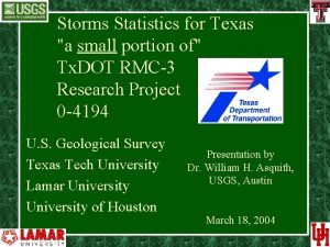 Storms Statistics for Texas a small portion of