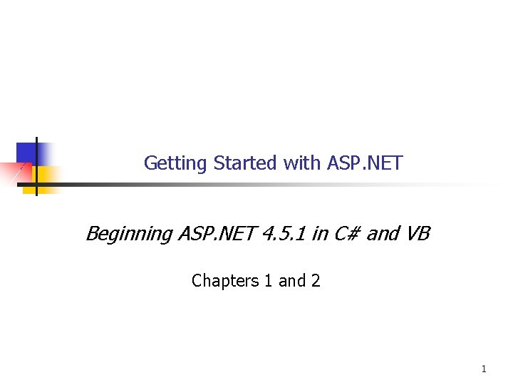 Getting Started with ASP NET Beginning ASP NET