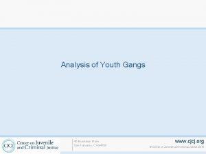 Analysis of Youth Gangs 40 Boardman Place San