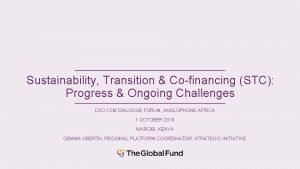 Sustainability Transition Cofinancing STC Progress Ongoing Challenges CSO