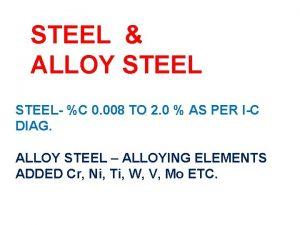 STEEL ALLOY STEEL C 0 008 TO 2