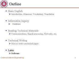Outline Basic English Introduction Grammar Vocabulary Translation Information