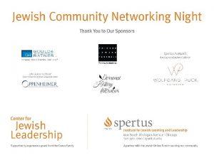 CREATING JEWISH LEADING PLACES TO WORK Jewish Community