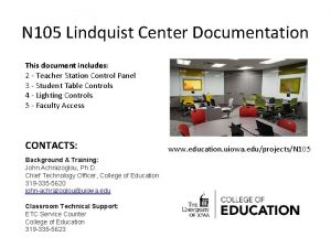 N 105 Lindquist Center Documentation This document includes