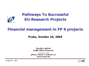 Pathways To Successful EUResearch Projects Financial management in