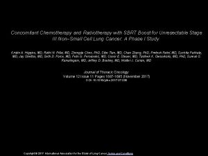 Concomitant Chemotherapy and Radiotherapy with SBRT Boost for