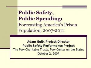 Public Safety Public Spending Forecasting Americas Prison Population