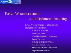 KiwiW consortium establishment briefing KiwiW consortium establishment preparation