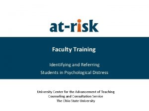 Faculty Training Identifying and Referring Students in Psychological