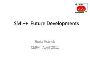 SMI Future Developments Boda Franek CERN April 2011