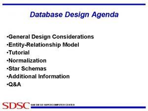 Database Design Agenda General Design Considerations EntityRelationship Model