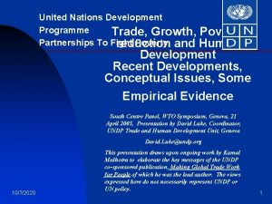 United Nations Development Programme Trade Growth Poverty Partnerships