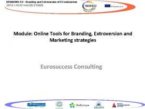 BRANDING EU Branding and Extroversion of EU enterprises