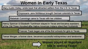 Women in Early Texas Mary Austin Holley wrote