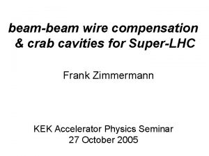 beambeam wire compensation crab cavities for SuperLHC Frank