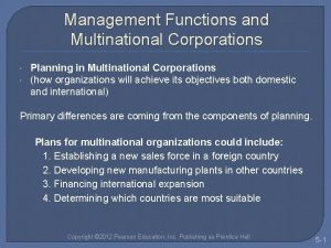 Management Functions and Multinational Corporations Planning in Multinational