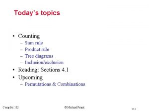 Todays topics Counting Sum rule Product rule Tree
