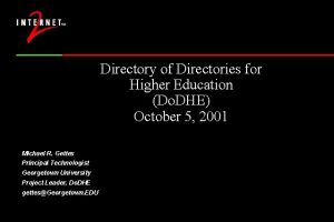 Directory of Directories for Higher Education Do DHE