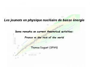 Les jeunots en physique nuclaire de basse nergie