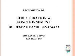 PROPOSITION DE STRUCTURATION FONCTIONNEMENT DU RESEAU FAMILLES 47CO