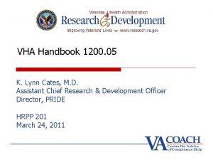 VHA Handbook 1200 05 K Lynn Cates M