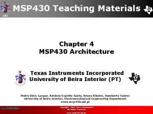 MSP 430 Teaching Materials UBI Chapter 4 MSP