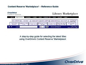 Content Reserve Marketplace Reference Guide A stepbystep guide
