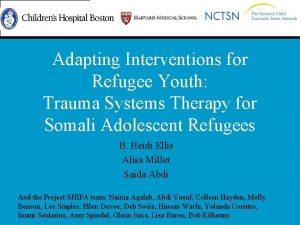 Adapting Interventions for Refugee Youth Trauma Systems Therapy