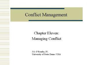 Conflict Management Chapter Eleven Managing Conflict J S