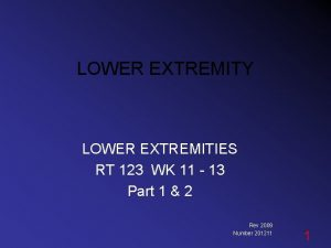 LOWER EXTREMITY LOWER EXTREMITIES RT 123 WK 11